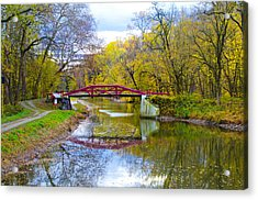 The Delaware Canal Near New Hope Pa In Autumn Acrylic Print by Bill Cannon