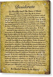 The Desiderata Poem On Antique Wallpaper Acrylic Print by Desiderata Gallery