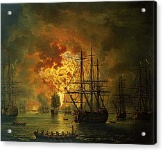 The Destruction Of The Turkish Fleet At The Bay Of Chesma Acrylic Print by Jacob Philippe Hackert