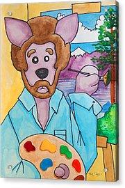 The Dingo Starring As Bob Ross Acrylic Print by Yvonne Lozano