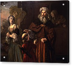 The Dismissal Of Hagar, 1650 Acrylic Print by Jan Victors