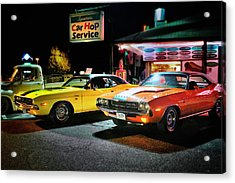 The Dodge Boys - Cruise Night At The Sycamore Acrylic Print by Thomas Schoeller