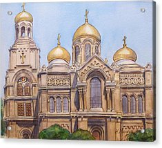 The Dormition Of The Mother Of God Cathedral  Varna Bulgaria Acrylic Print by Henrieta Maneva
