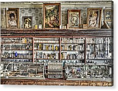 The Drug Store Counter Acrylic Print by Ken Smith