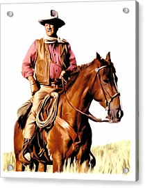 The Duke  John Wayne Acrylic Print by Iconic Images Art Gallery David Pucciarelli