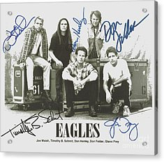 The Eagles Autographed Acrylic Print by Desiderata Gallery