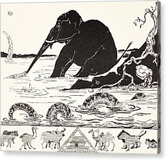 The Elephant's Child Having His Nose Pulled By The Crocodile Acrylic Print by Joseph Rudyard Kipling
