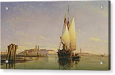 The Euganean Hills And The Laguna Of Venice - Trabaccola Waiting For The Tide Sunset Acrylic Print by Edward William Cooke