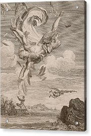 The Fall Of Icarus, 1731 Acrylic Print by Bernard Picart