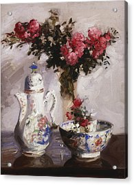 The Famille Rose Coffee Pot Acrylic Print by Francis Campbell Boileau Cadell