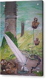 The Feather And The Word La Pluma Y La Palabra Acrylic Print by Lazaro Hurtado