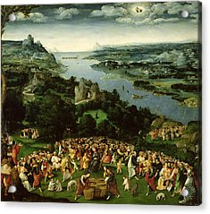 The Feeding Of The Five Thousand Oil On Panel Acrylic Print by Joachim Patenier or Patinir