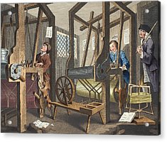The Fellow Prentices At Their Looms Acrylic Print by William Hogarth