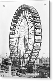The Ferris Wheel At The Worlds Columbian Exposition Of 1893 In Chicago Bw Photo Acrylic Print by American Photographer