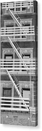 The Fire Escape In Black And White Acrylic Print by Rob Hans