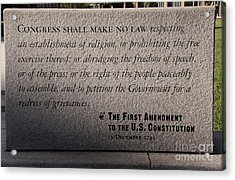 The First Amendment Acrylic Print by Gayle Johnson