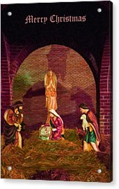 The First Christmas - Greeting Card Acrylic Print by Chris Flees