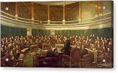 The First Meeting Of The London County Council In The County Hall, Spring Gardens Acrylic Print by Henry Jamyn Brooks