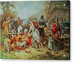 The First Thanksgiving Acrylic Print by Jean Leon Gerome Ferris