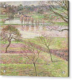 The Flood At Eragny Acrylic Print by Camille Pissarro