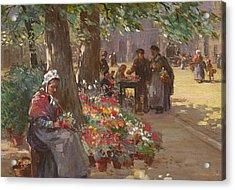 The Flower Seller Acrylic Print by William Kay Blacklock