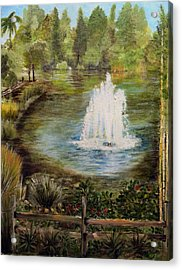 The Fountain Acrylic Print by Arlen Avernian Thorensen