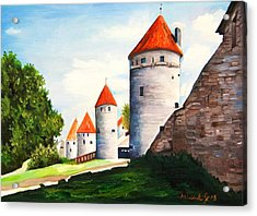 The Four Old Towers Estonia Acrylic Print by Misuk  Jenkins