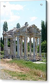 The Four Roman Columns Of The Ceremonial Gateway  Acrylic Print by Tracey Harrington-Simpson