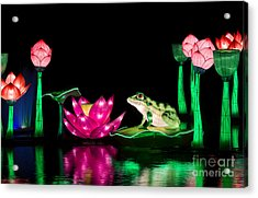 The Frog And Lotus Acrylic Print by Tim Gainey