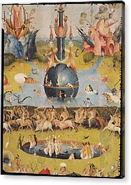 The Garden Of Earthly Delights Allegory Of Luxury, Detail Of The Central Panel, C.1500 Oil On Panel Acrylic Print by Hieronymus Bosch