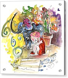 The Girl And The Elephant And The Bird From Velez Rubio Acrylic Print by Miki De Goodaboom