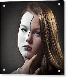 The Girl Behind The Mask Acrylic Print by Erik Brede