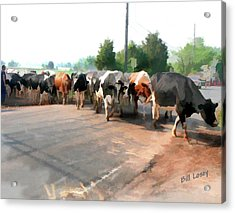 The Girls Crossing The Road Acrylic Print by Bill Losey