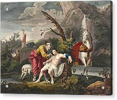 The Good Samaritan, Illustration Acrylic Print by William Hogarth