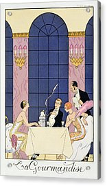 The Gourmands Acrylic Print by Georges Barbier