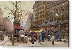 The Great Boulevards Acrylic Print by Eugene Galien-Laloue