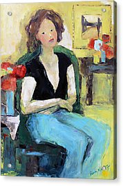 The Green Chair Acrylic Print by Becky Kim