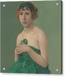 The Green Ribbon Acrylic Print by Felix Edouard Vallotton