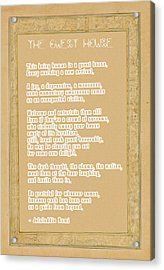 The Guest House Poem By Rumi Acrylic Print by Celestial Images