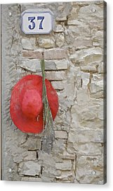 The Hanging Red Hat Acrylic Print by David Letts