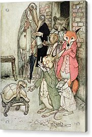 The Hare And The Tortoise, Illustration From Aesops Fables, Published By Heinemann, 1912 Colour Acrylic Print by Arthur Rackham