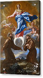 The Immaculate Conception With Saints Francis Of Assisi And Anthony Of Padua Acrylic Print by Il Grechetto