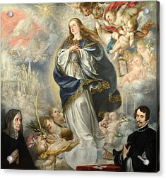 The Immaculate Conception With Two Donors Acrylic Print by Juan de Valdes Leal