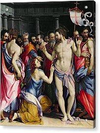 The Incredulity Of Saint Thomas Acrylic Print by Francesco de Rossi Salviati Cecchino