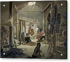 The Interior Of A Hut Of A Mandan Chief Acrylic Print by Karl Bodmer