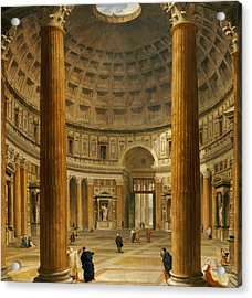 The Interior Of The Pantheon Acrylic Print by Giovanni Paolo Panini