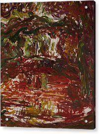 The Japanese Bridge At Giverny, Detail Acrylic Print by Claude Monet