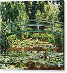 The Japanese Footbridge And The Water Lily Pool Giverny Acrylic Print by Claude Monet