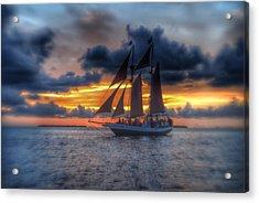 The Jolly Roger Sunset Acrylic Print by Edward Johnston