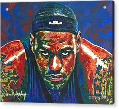 The Lebron Death Stare Acrylic Print by Maria Arango